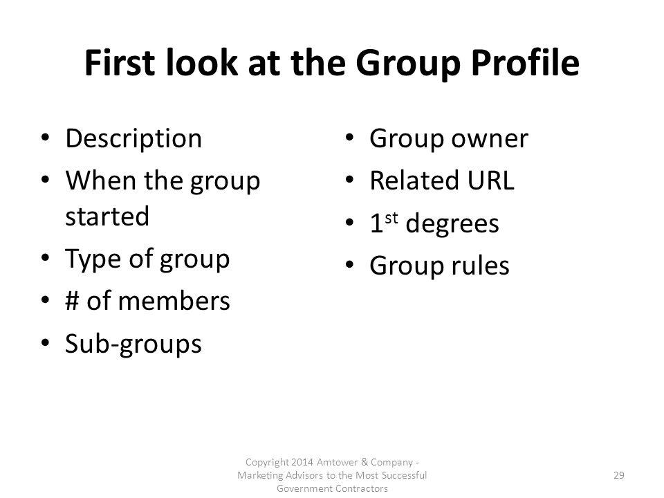 First look at the Group Profile Description When the group started Type of group # of members Sub-groups Group owner Related URL 1 st degrees Group rules Copyright 2014 Amtower & Company - Marketing Advisors to the Most Successful Government Contractors 29