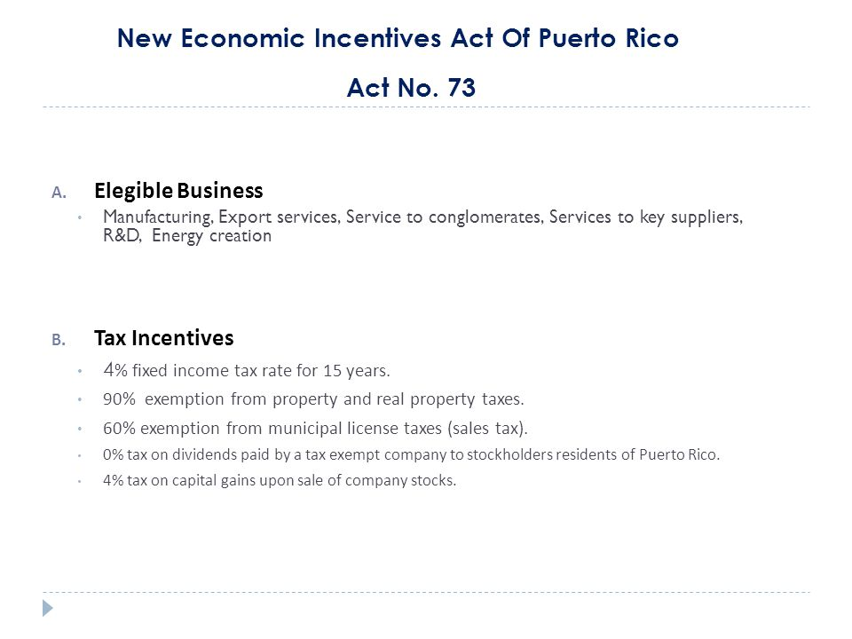 New Economic Incentives Act Of Puerto Rico Act No.