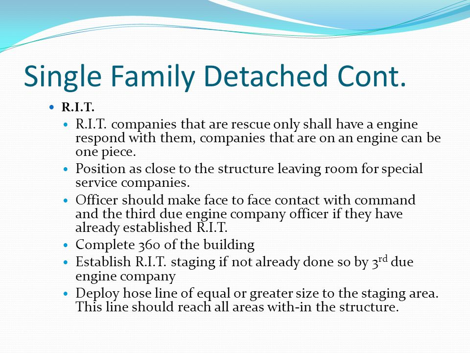 Single Family Detached Cont. R.I.T. R.I.T.