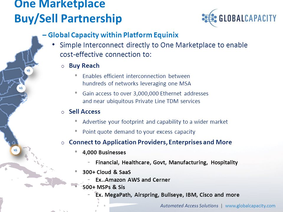 Automated Access Solutions | www.globalcapacity.com Page 20 One Marketplace Buy/Sell Partnership – Global Capacity within Platform Equinix Simple Inte