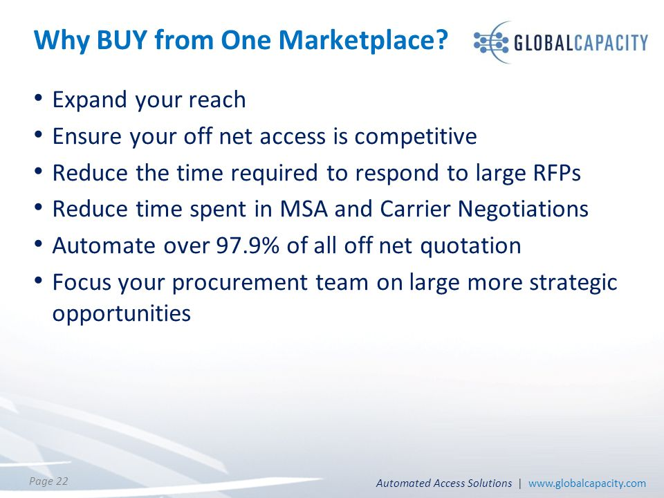 Automated Access Solutions | www.globalcapacity.com Page 22 Why BUY from One Marketplace? Expand your reach Ensure your off net access is competitive