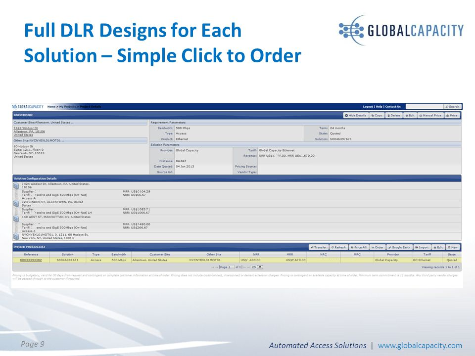 Automated Access Solutions | www.globalcapacity.com Page 9 Full DLR Designs for Each Solution – Simple Click to Order
