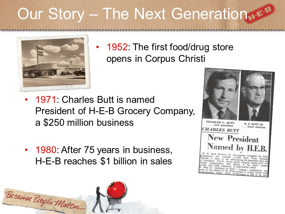 Our Story – The Next Generation 1952: The first food/drug store opens in Corpus Christi 1971: Charles Butt is named President of H-E-B Grocery Company, a $250 million business 1980: After 75 years in business, H-E-B reaches $1 billion in sales