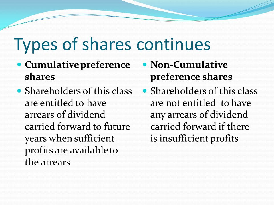Types of shares Ordinary Shares Preference Shares They are known as equity shares Shareholders of these shares are the owners of the company Sharehold