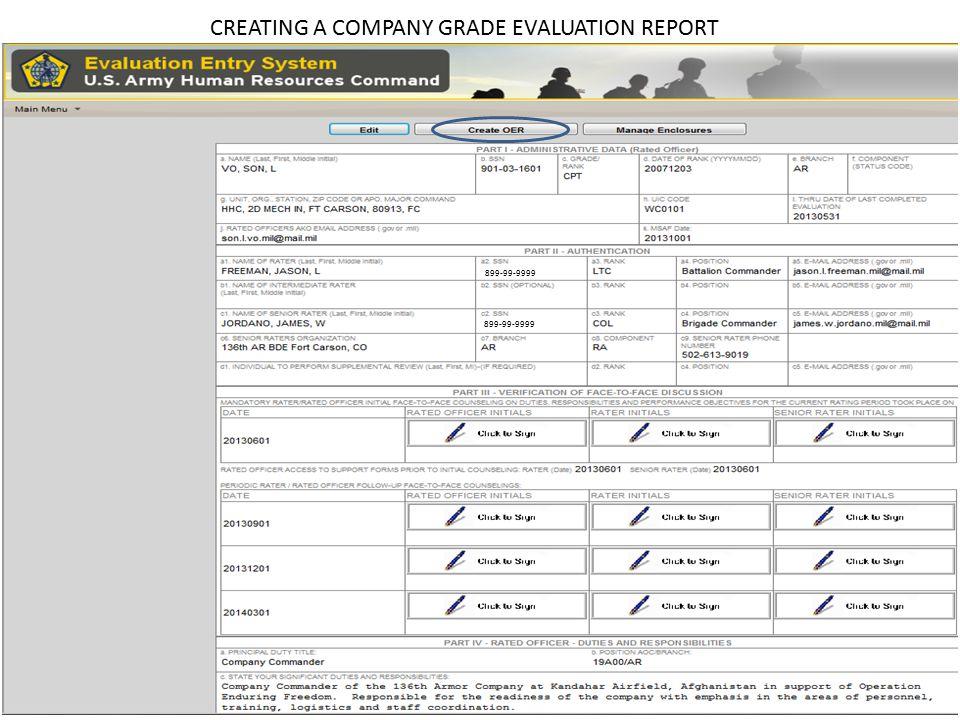 CREATING A COMPANY GRADE EVALUATION REPORT 899-99-9999