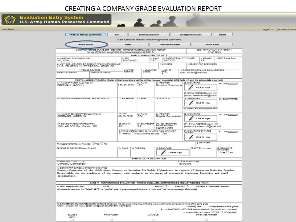 CREATING A COMPANY GRADE EVALUATION REPORT Note: Yellow highlighted tab indicates which step you are completing in the wizard