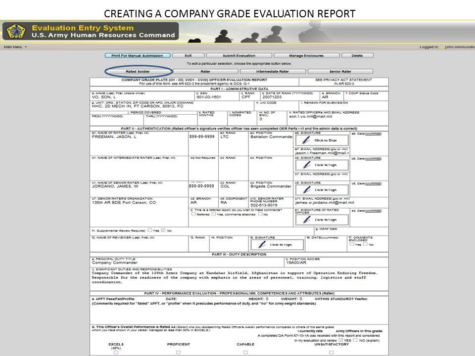 CREATING A COMPANY GRADE EVALUATION REPORT 888888888 899999999