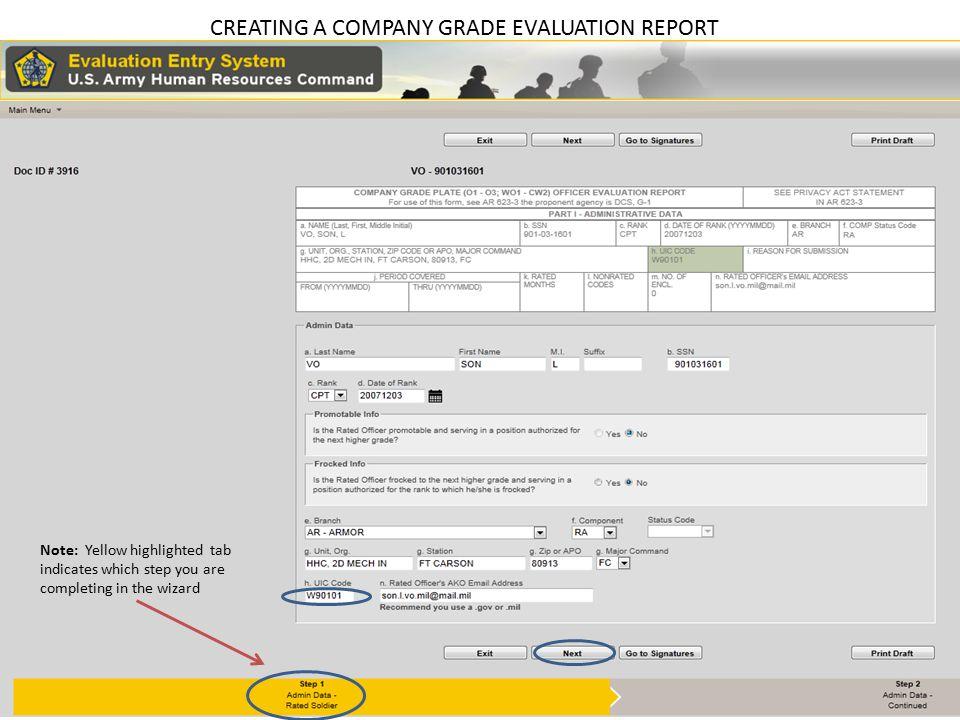 CREATING A COMPANY GRADE EVALUATION REPORT