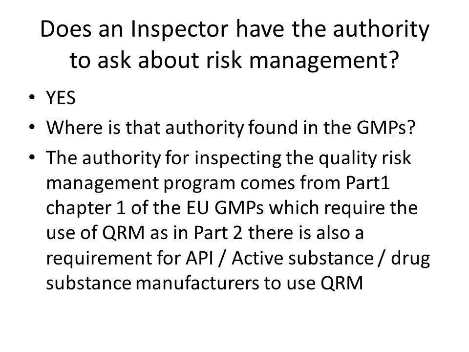 Left sideRight side What should be addressed in your Quality risk management policy Start preparing a checklist of items which need to be addressed in your QRM Master Plan YOU can do it by product / process or quality system activity