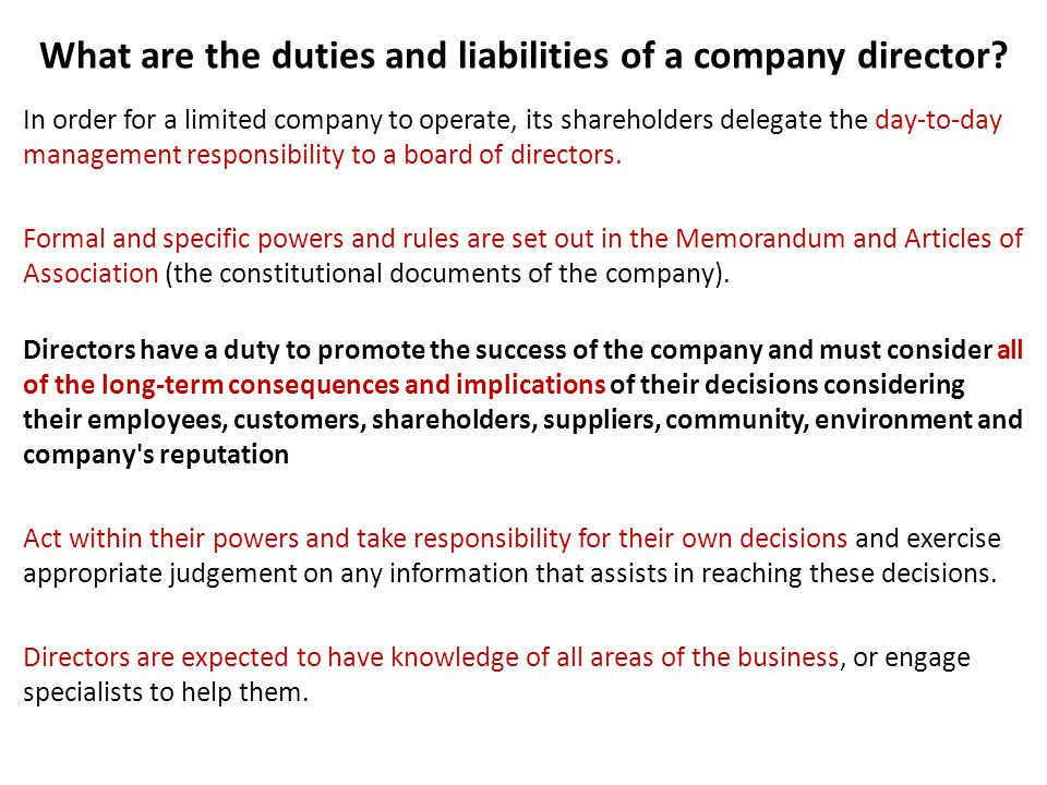 What are the duties and liabilities of a company director.