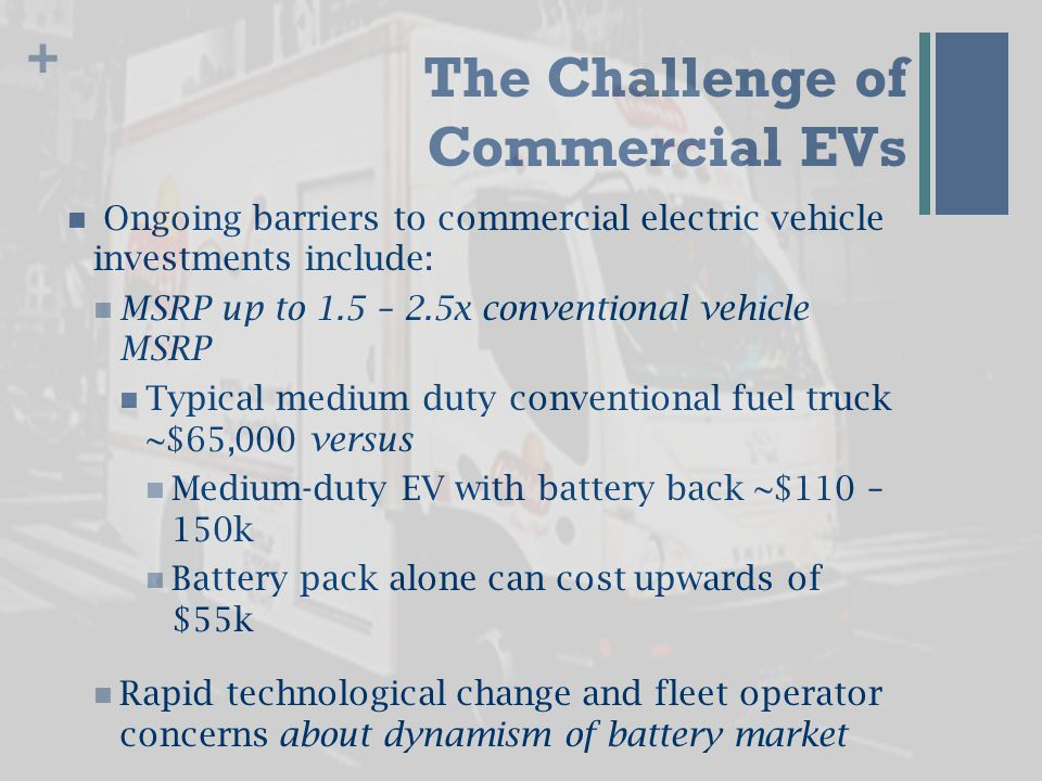 + The Opportunity LeaseCo will disaggregate the battery pack from the vehicle and lease the pack separately to fleet Fleet owner owns or leases the truck and drivetrain; Leaseco holds title to pack  Battery leasing reduces the MSRP of a medium duty EV by 30 – 50% Brings cost of vehicle in line with traditional vehicles Monthly lease payment plus electricity costs in line with monthly fuel costs for comparable ICE vehicle
