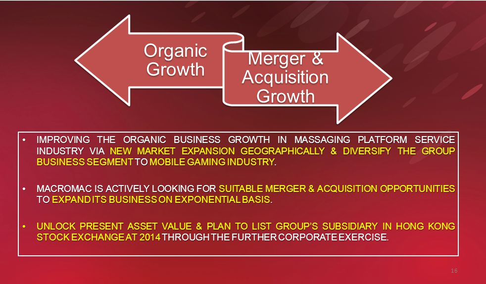 16 Organic Growth Merger & Acquisition Growth IMPROVING THE ORGANIC BUSINESS GROWTH IN MASSAGING PLATFORM SERVICE INDUSTRY VIA NEW MARKET EXPANSION GEOGRAPHICALLY & DIVERSIFY THE GROUP BUSINESS SEGMENT TO MOBILE GAMING INDUSTRY.IMPROVING THE ORGANIC BUSINESS GROWTH IN MASSAGING PLATFORM SERVICE INDUSTRY VIA NEW MARKET EXPANSION GEOGRAPHICALLY & DIVERSIFY THE GROUP BUSINESS SEGMENT TO MOBILE GAMING INDUSTRY.