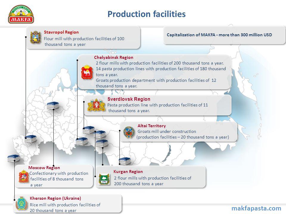 Production facilities Sverdlovsk Region Pasta production line with production facilities of 11 thousand tons a year.