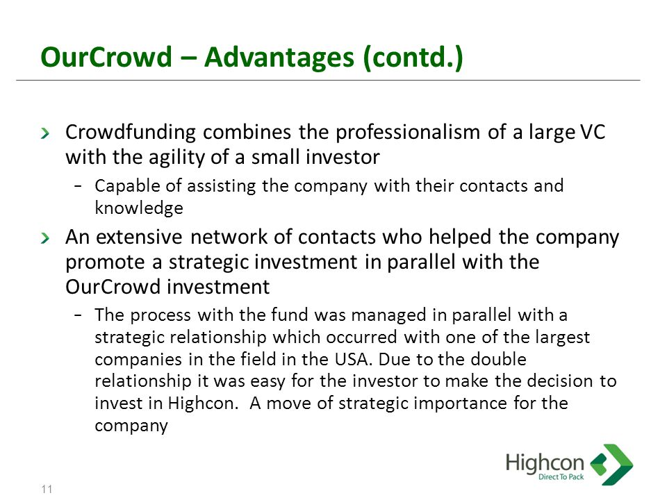 OurCrowd – Advantages (contd.) Crowdfunding combines the professionalism of a large VC with the agility of a small investor − Capable of assisting the company with their contacts and knowledge An extensive network of contacts who helped the company promote a strategic investment in parallel with the OurCrowd investment − The process with the fund was managed in parallel with a strategic relationship which occurred with one of the largest companies in the field in the USA.