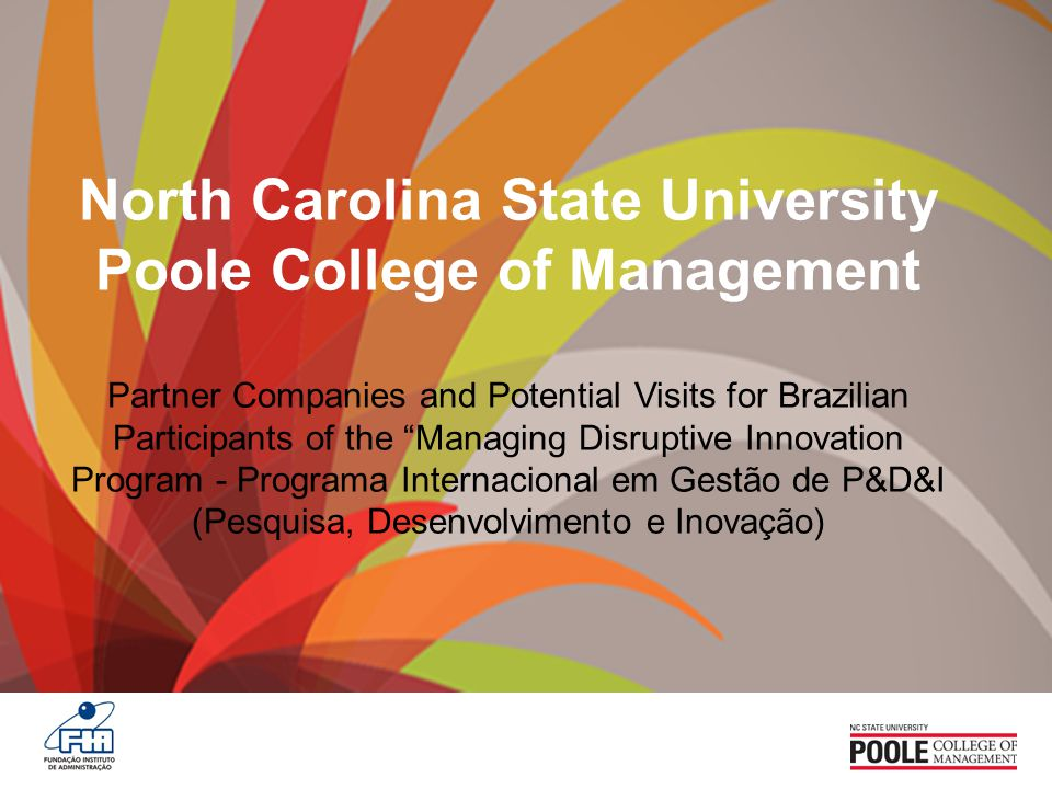 North Carolina State University Poole College of Management Partner Companies and Potential Visits for Brazilian Participants of the Managing Disruptive Innovation Program - Programa Internacional em Gestão de P&D&I (Pesquisa, Desenvolvimento e Inovação)