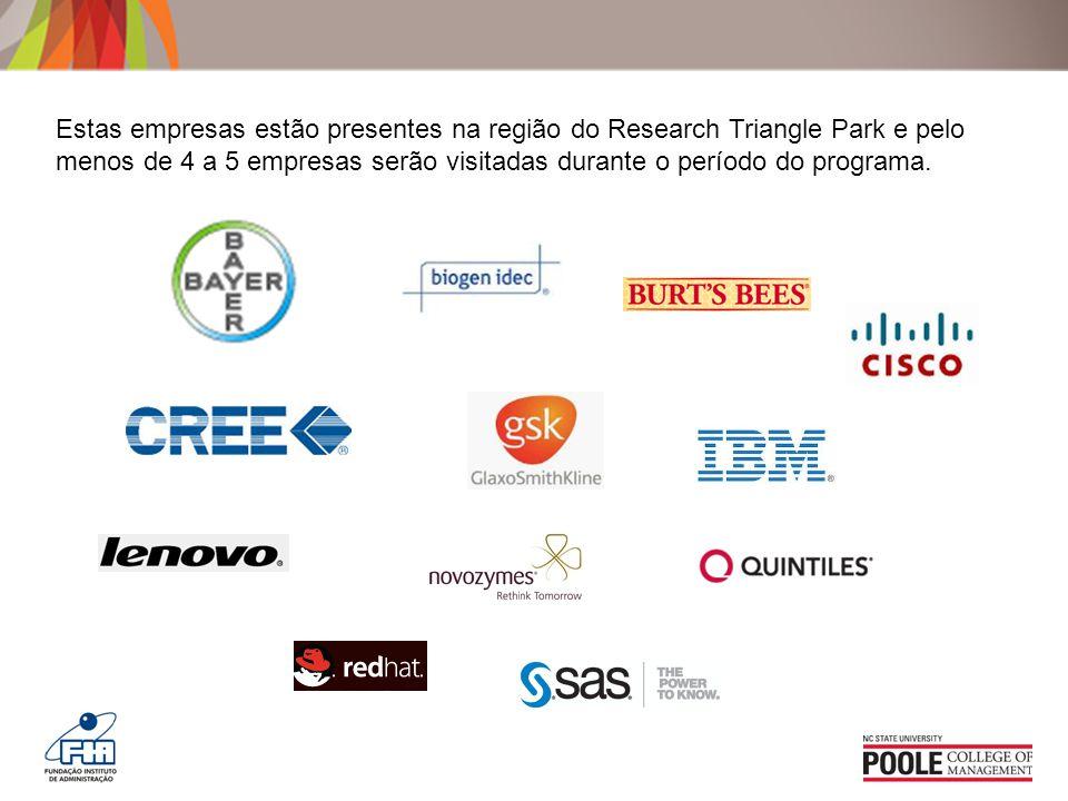 Estas empresas estão presentes na região do Research Triangle Park e pelo menos de 4 a 5 empresas serão visitadas durante o período do programa.
