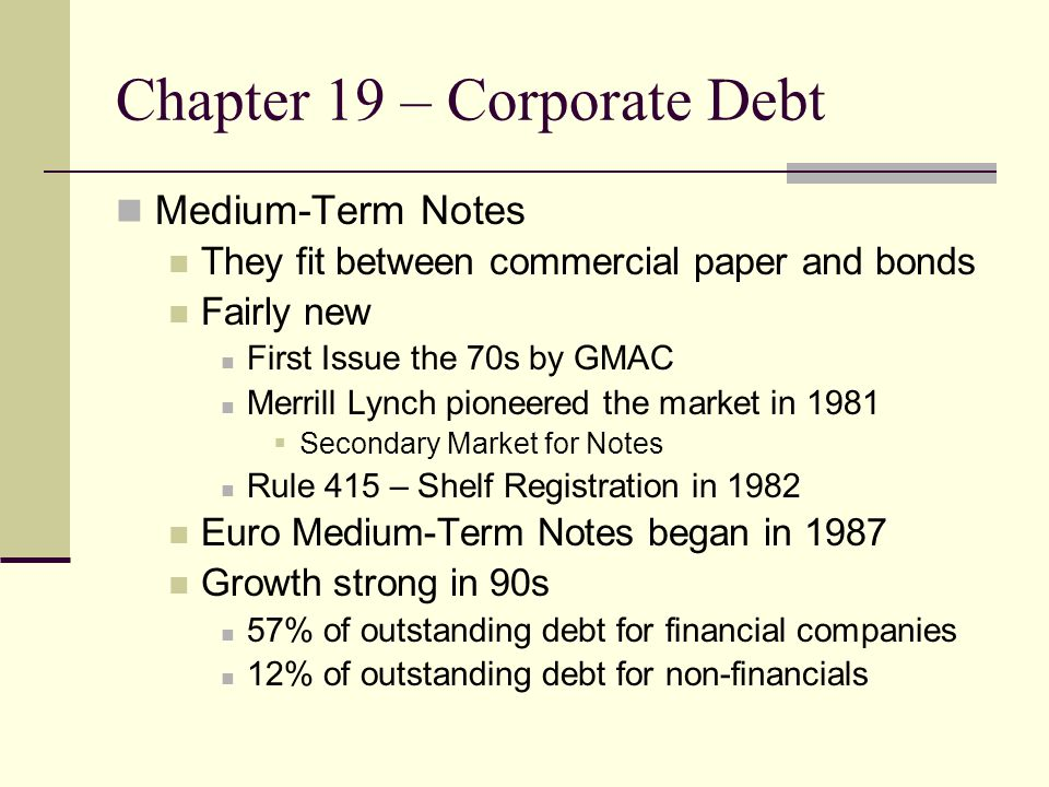 Chapter 19 – Corporate Debt Medium-Term Notes They fit between commercial paper and bonds Fairly new First Issue the 70s by GMAC Merrill Lynch pioneered the market in 1981  Secondary Market for Notes Rule 415 – Shelf Registration in 1982 Euro Medium-Term Notes began in 1987 Growth strong in 90s 57% of outstanding debt for financial companies 12% of outstanding debt for non-financials
