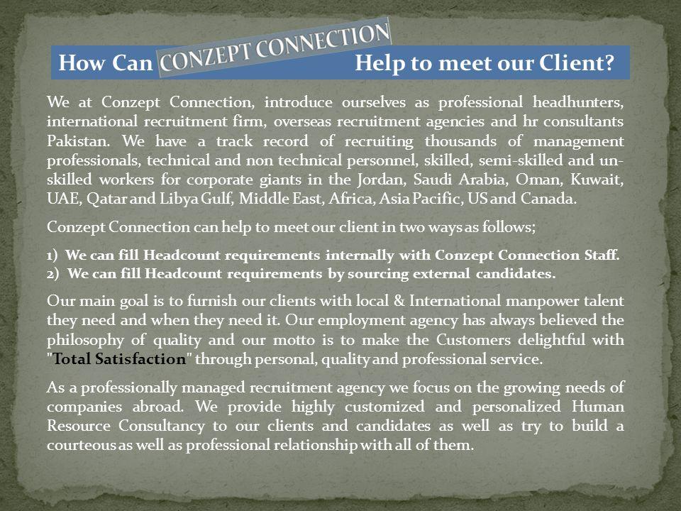 How does Conzept Connection Handle an Executive Recruitment.