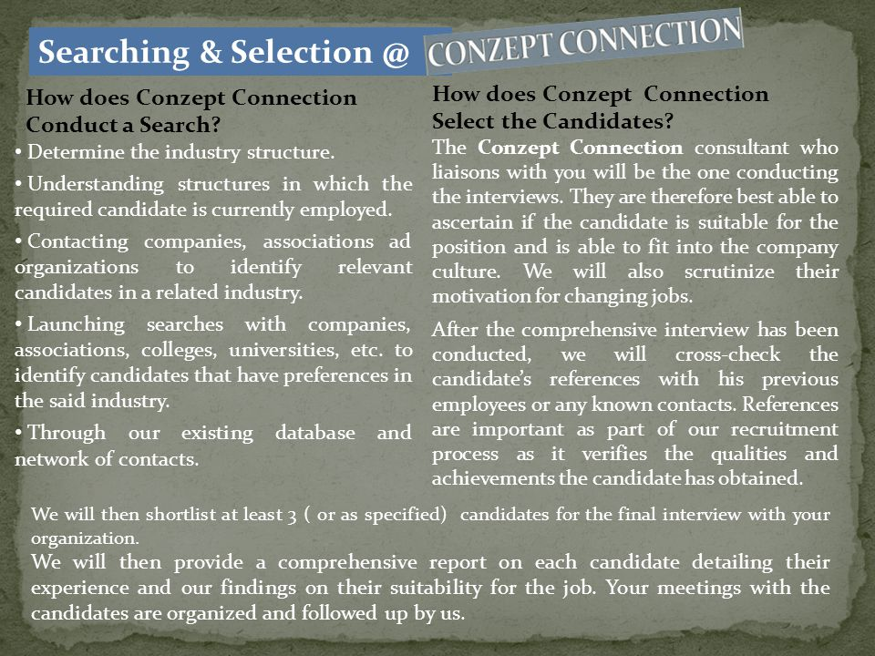The normal Process for an Executive Search (Headhunting) will take 2-3 weeks to identify and source the candidates (search duration may be shorter depending on the availability of candidates).