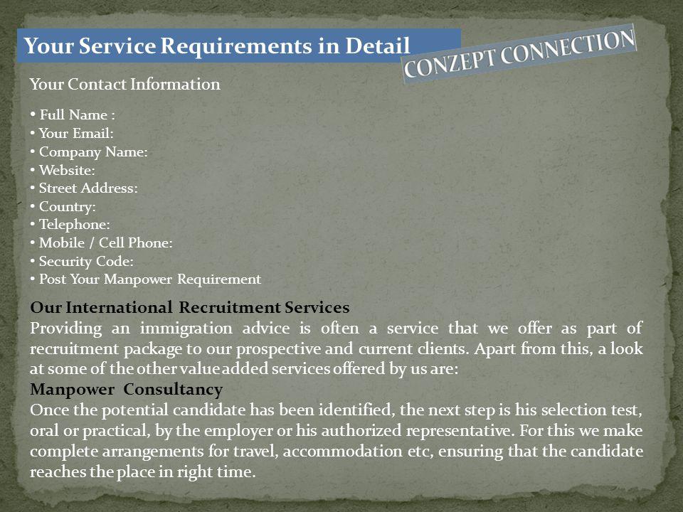 Contact Us Karachi Office: Suite # 704, 7 th Floor, Marine Faisal Building, Main Nursery, Block-6, Shahra-e-Faisal, Karachi-Pakistan Tel: 021-34256877 / 0312-2170204 Emails: For General Inquiry: info@conzeptconnect.com For Jobs: jobs@conzeptconnect.com For Marketing Suggestion: marketing@conzeptconnect.com URL: www.conzeptconnect.com