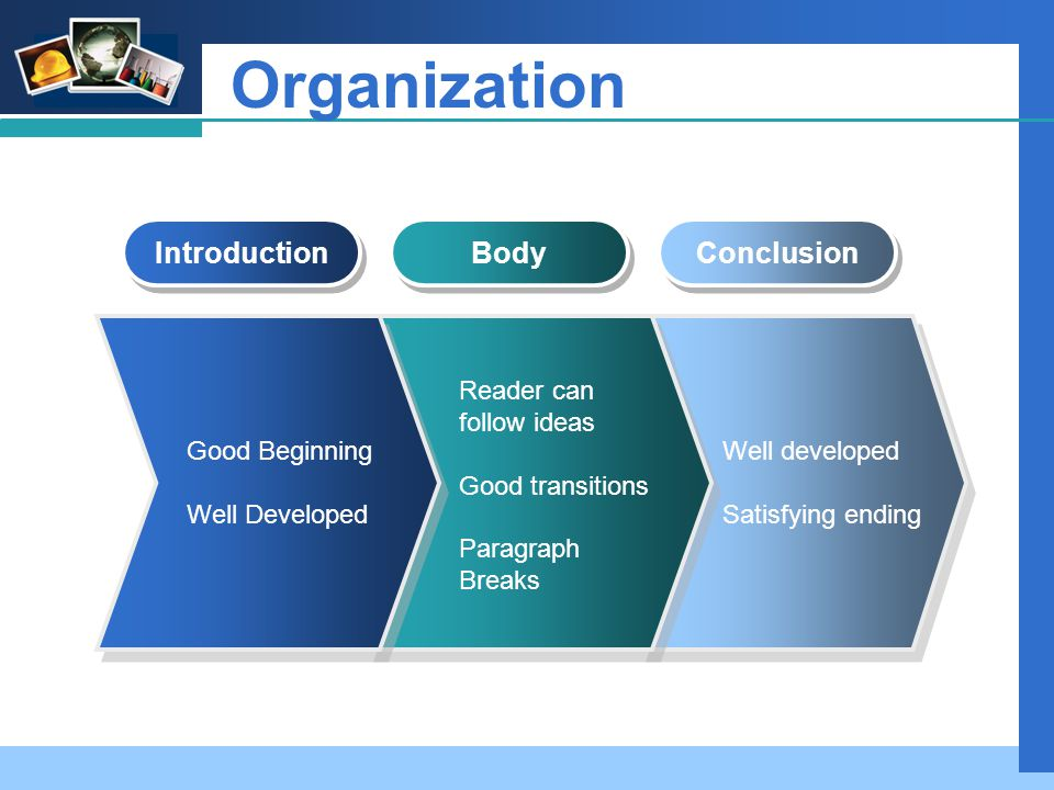 Company LOGO Organization Introduction Body Conclusion Good Beginning Well Developed Reader can follow ideas Good transitions Paragraph Breaks Well developed Satisfying ending
