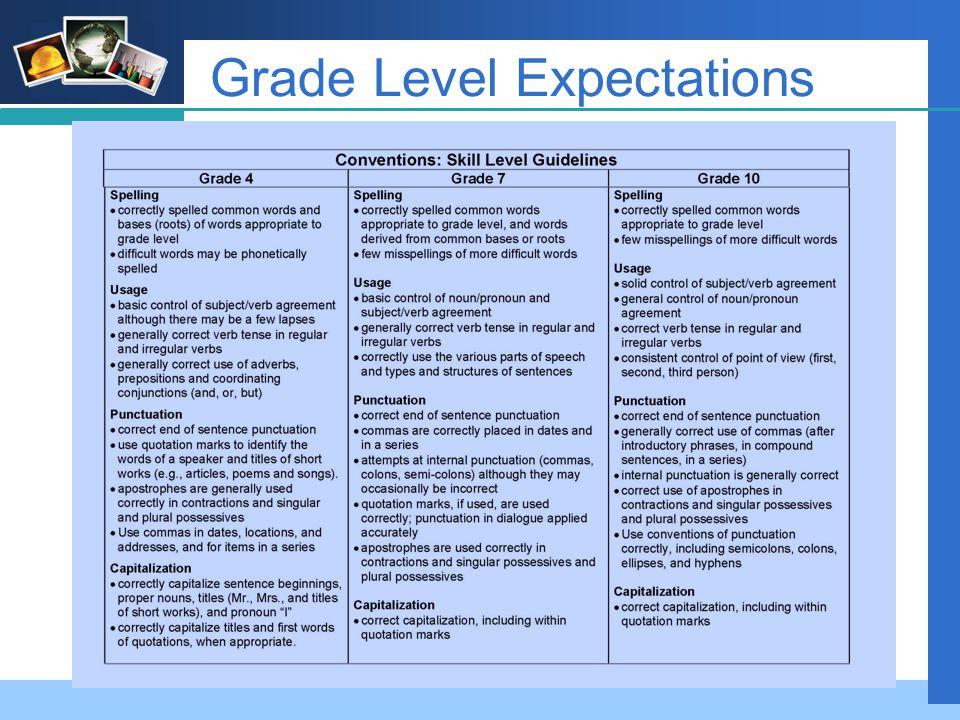 Company LOGO Grade Level Expectations