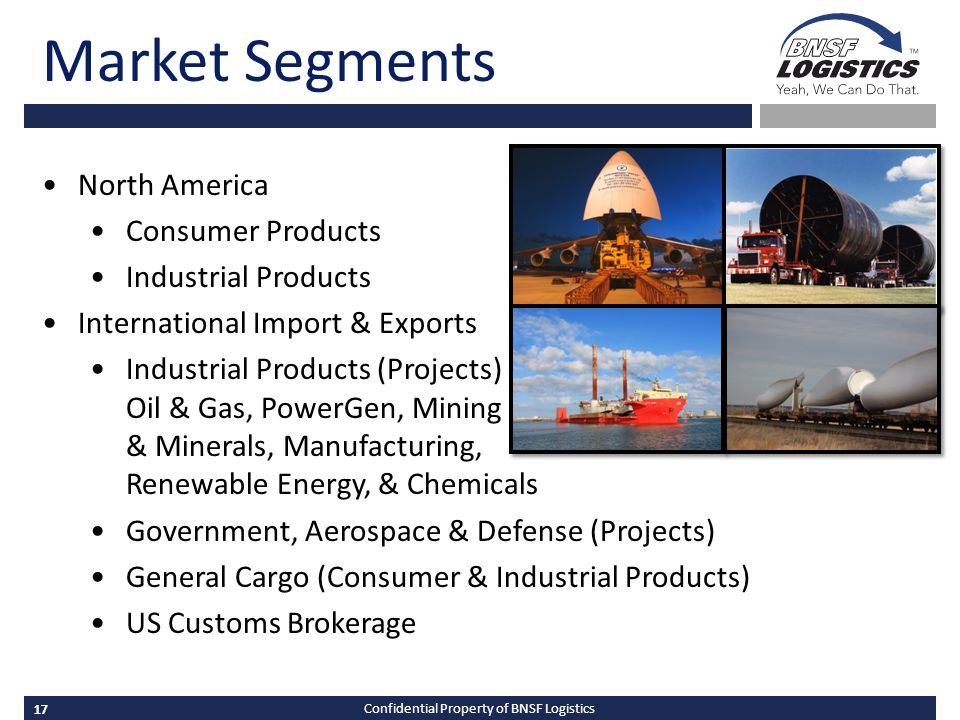 17 Confidential Property of BNSF Logistics Market Segments North America Consumer Products Industrial Products International Import & Exports Industrial Products (Projects) Oil & Gas, PowerGen, Mining & Minerals, Manufacturing, Renewable Energy, & Chemicals Government, Aerospace & Defense (Projects) General Cargo (Consumer & Industrial Products) US Customs Brokerage