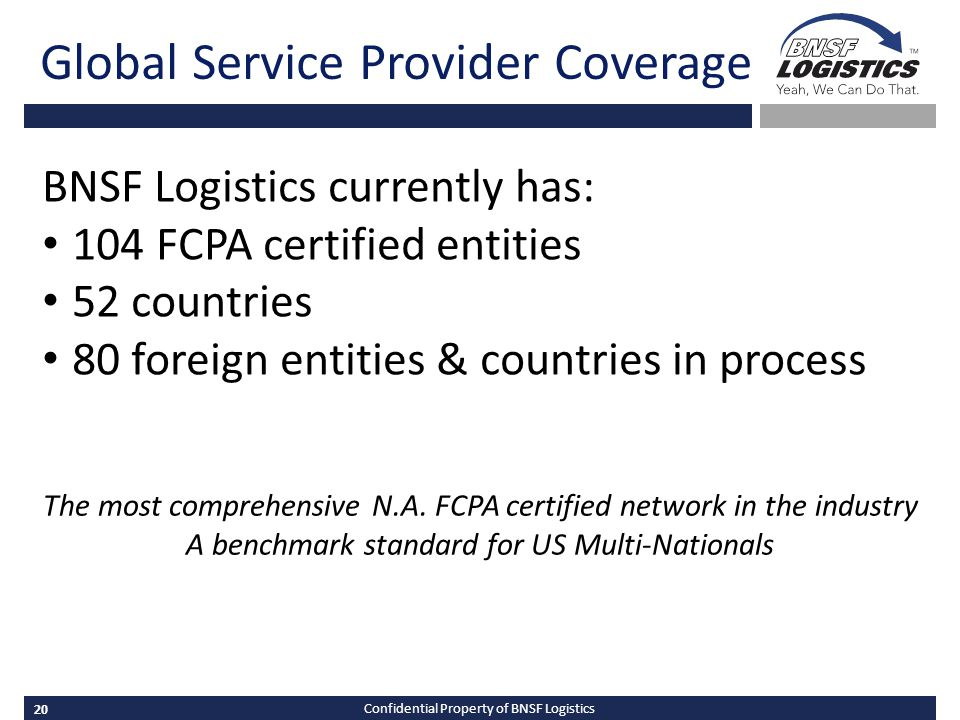 20 Confidential Property of BNSF Logistics Global Service Provider Coverage The most comprehensive N.A.