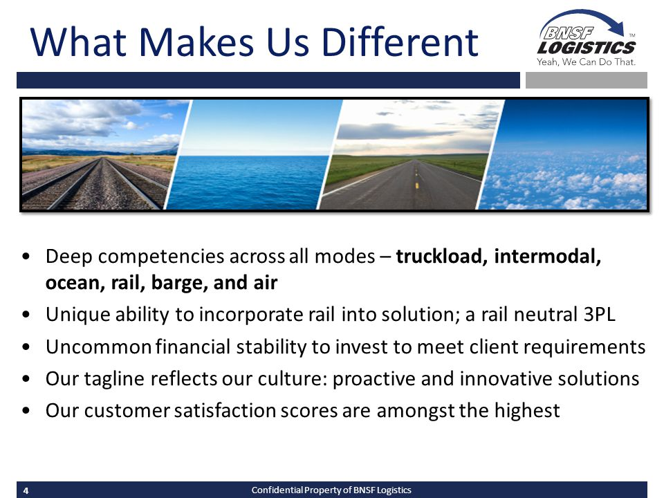 4 Confidential Property of BNSF Logistics What Makes Us Different Deep competencies across all modes – truckload, intermodal, ocean, rail, barge, and air Unique ability to incorporate rail into solution; a rail neutral 3PL Uncommon financial stability to invest to meet client requirements Our tagline reflects our culture: proactive and innovative solutions Our customer satisfaction scores are amongst the highest