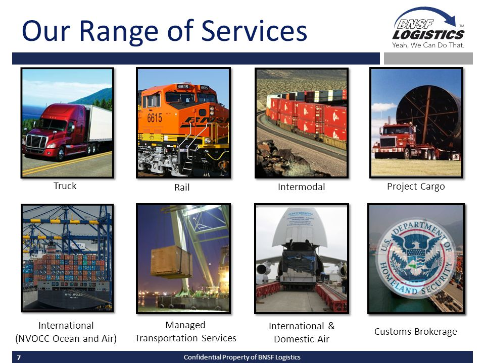 7 Confidential Property of BNSF Logistics Our Range of Services International & Domestic Air International (NVOCC Ocean and Air) Managed Transportation Services Truck Rail Intermodal Project Cargo Customs Brokerage