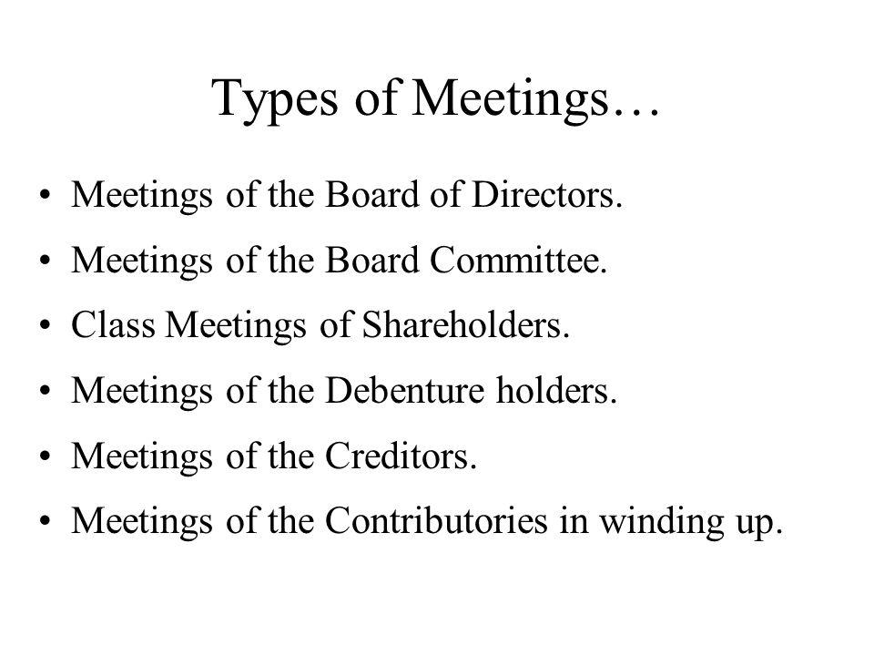 Types of Meetings… Meetings of the Board of Directors. Meetings of the Board Committee. Class Meetings of Shareholders. Meetings of the Debenture hold