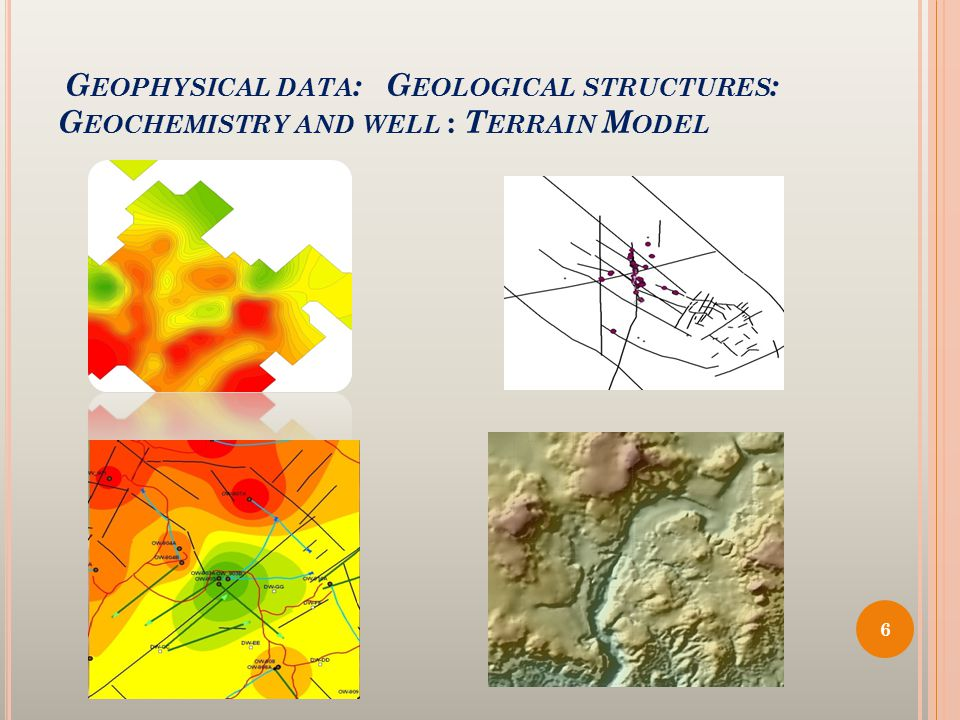 G EOPHYSICAL DATA : G EOLOGICAL STRUCTURES : G EOCHEMISTRY AND WELL : T ERRAIN M ODEL 6