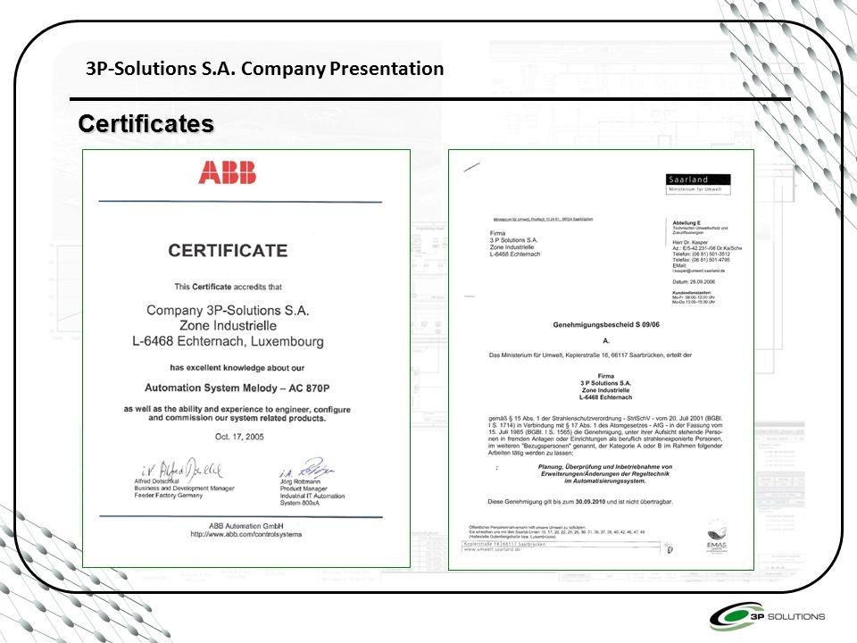 3P-Solutions S.A. Company Presentation Certificates