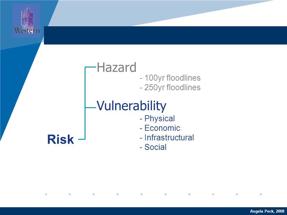 Company LOGO www.company.comAngela Peck, 2008 Hazard Vulnerability Risk - 100yr floodlines - 250yr floodlines - Physical - Economic - Infrastructural