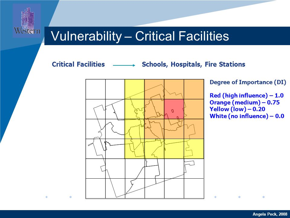 Company LOGO www.company.com Critical Facilities Schools, Hospitals, Fire Stations Angela Peck, 2008 Vulnerability – Critical Facilities Degree of Importance (DI) Red (high influence) – 1.0 Orange (medium) – 0.75 Yellow (low) – 0.20 White (no influence) – 0.0
