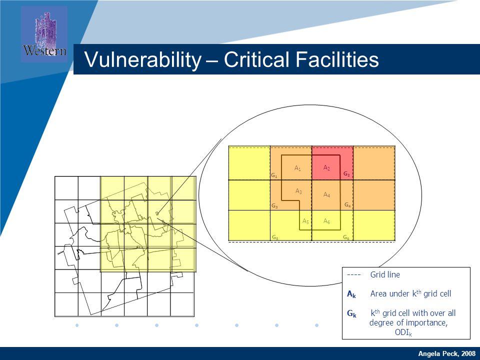 Company LOGO www.company.comAngela Peck, 2008 Vulnerability – Critical Facilities A1A1 A2A2 A3A3 A4A4 A5A5 A6A6 G1G1 G2G2 G3G3 G4G4 G5G5 G6G6 ---- Gri