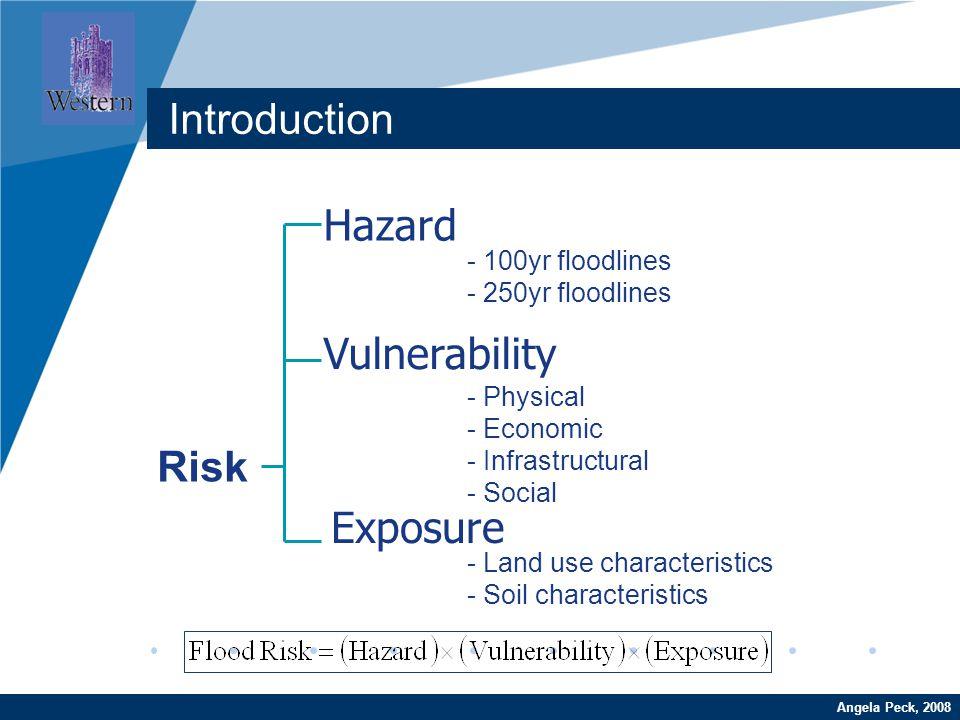 Company LOGO www.company.comAngela Peck, 2008 Introduction Hazard Vulnerability Exposure Risk - 100yr floodlines - 250yr floodlines - Physical - Econo