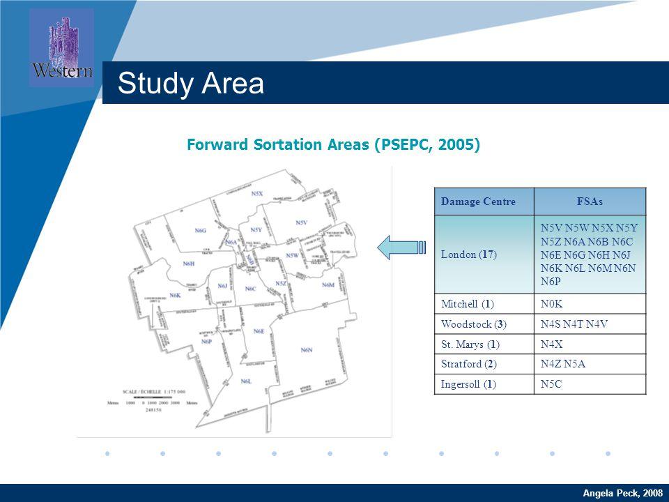 Company LOGO www.company.com Forward Sortation Areas (PSEPC, 2005) Angela Peck, 2008 Study Area Damage CentreFSAs London (17) N5V N5W N5X N5Y N5Z N6A