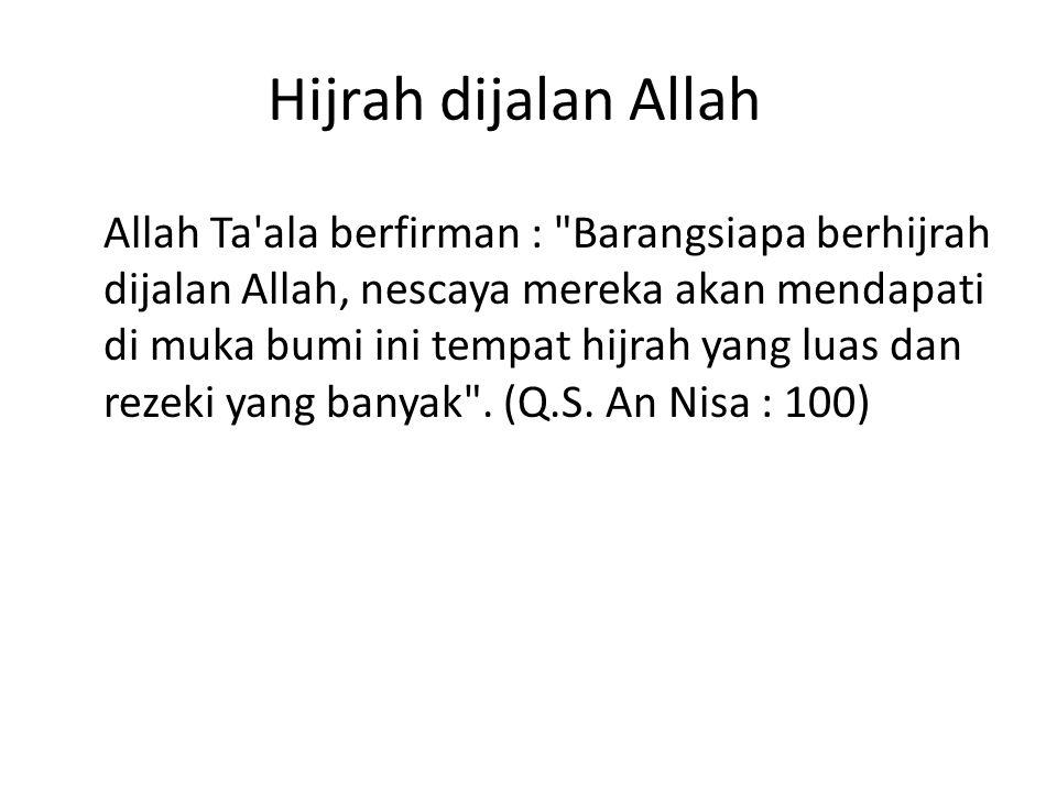 Hijrah dijalan Allah Allah Ta'ala berfirman :