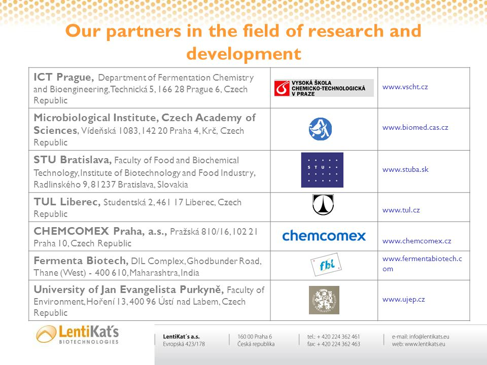 Our partners in the field of research and development ICT Prague, Department of Fermentation Chemistry and Bioengineering, Technická 5, 166 28 Prague