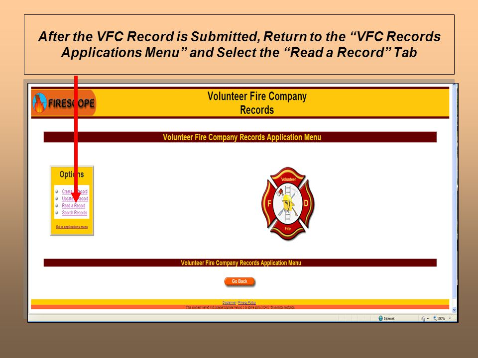 After the VFC Record is Submitted, Return to the VFC Records Applications Menu and Select the Read a Record Tab