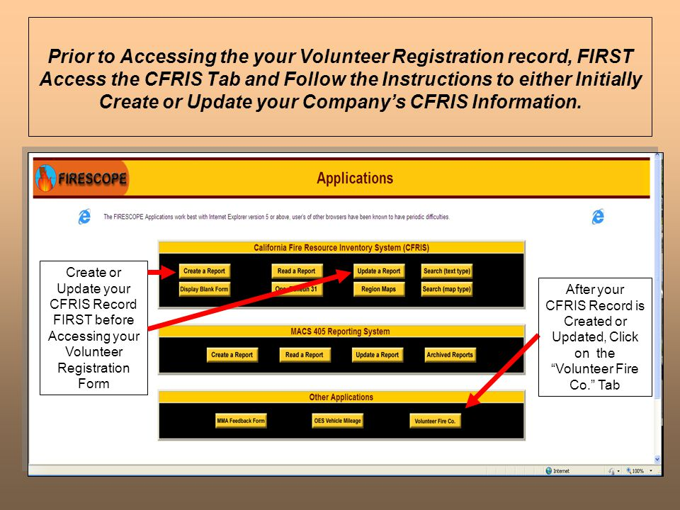 Prior to Accessing the your Volunteer Registration record, FIRST Access the CFRIS Tab and Follow the Instructions to either Initially Create or Update your Company's CFRIS Information.