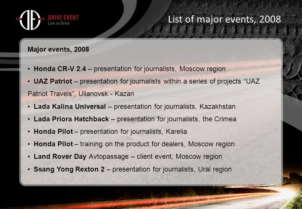 List of major events, 2008 Major events, 2008 Honda CR-V 2.4 – presentation for journalists, Moscow region UAZ Patriot – presentation for journalists within a series of projects UAZ Patriot Travels , Ulianovsk - Kazan Lada Kalina Universal – presentation for journalists, Kazakhstan Lada Priora Hatchback – presentation for journalists, the Crimea Honda Pilot – presentation for journalists, Karelia Honda Pilot – training on the product for dealers, Moscow region Land Rover Day Avtopassage – client event, Moscow region Ssang Yong Rexton 2 – presentation for journalists, Ural region
