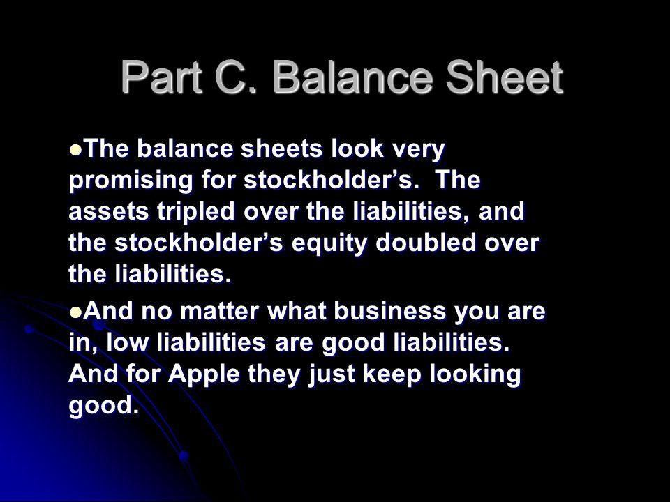 Part C. Balance Sheet The balance sheets look very promising for stockholder's.