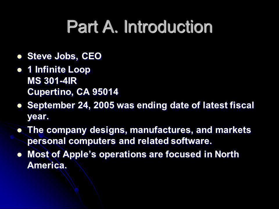 Part A. Introduction Steve Jobs, CEO Steve Jobs, CEO 1 Infinite Loop MS 301-4IR Cupertino, CA 95014 1 Infinite Loop MS 301-4IR Cupertino, CA 95014 Sep