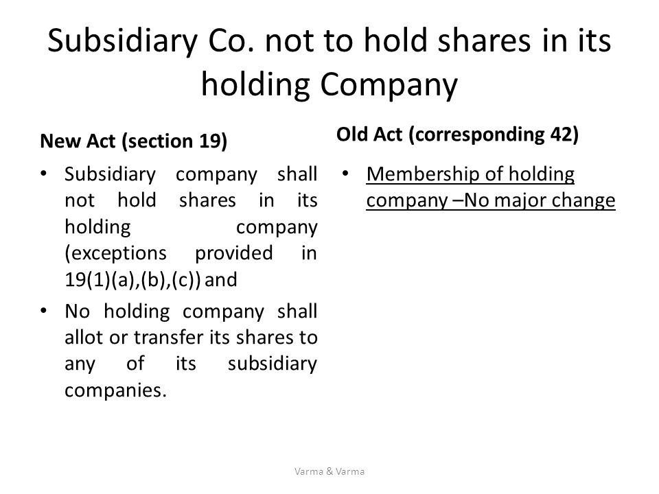 Subsidiary Co. not to hold shares in its holding Company New Act (section 19) Subsidiary company shall not hold shares in its holding company (excepti