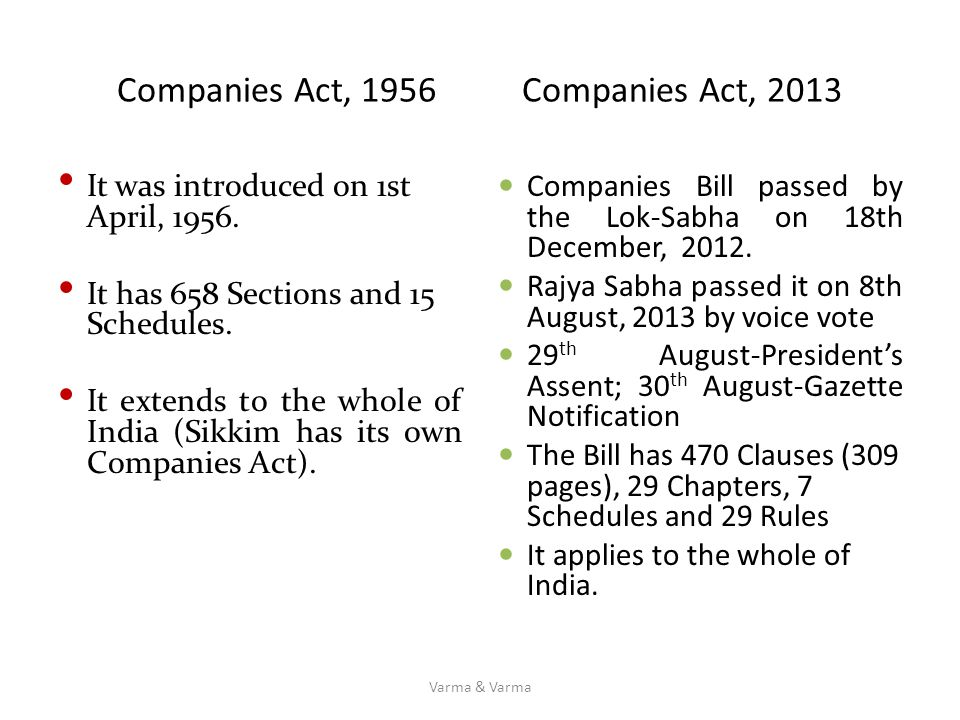 Companies Act, 1956 Companies Act, 2013 It was introduced on 1st April, 1956. It has 658 Sections and 15 Schedules. It extends to the whole of India (