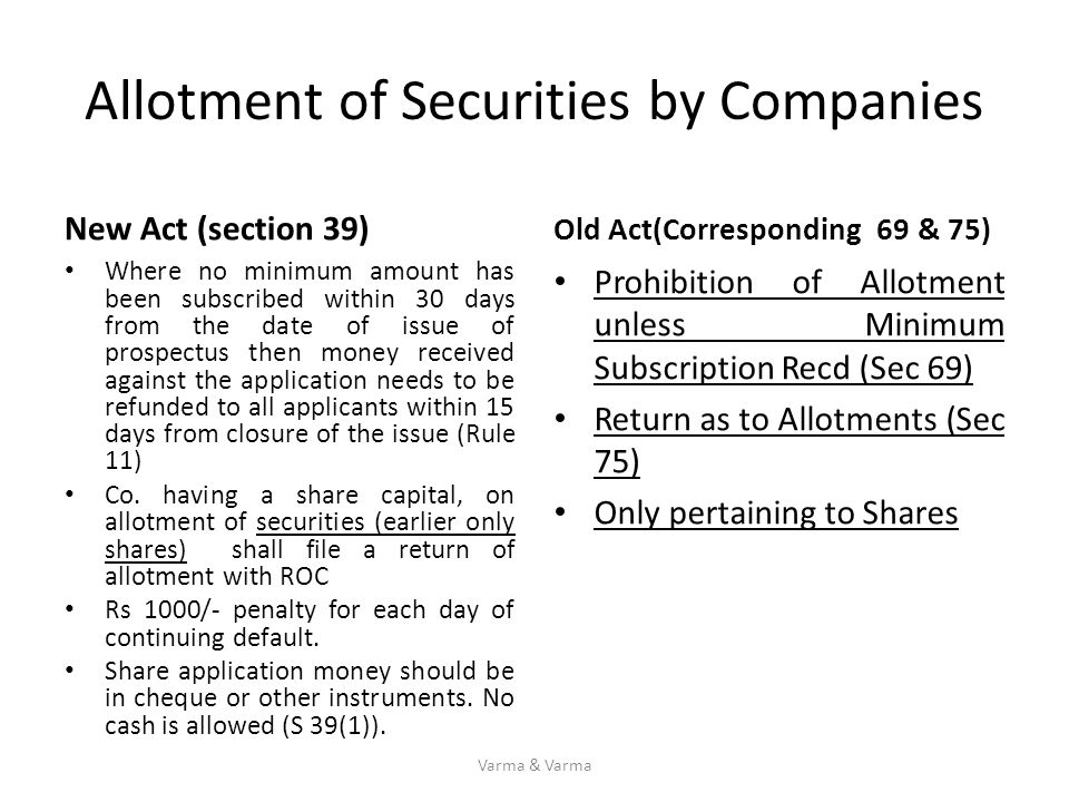 Allotment of Securities by Companies New Act (section 39) Where no minimum amount has been subscribed within 30 days from the date of issue of prospec