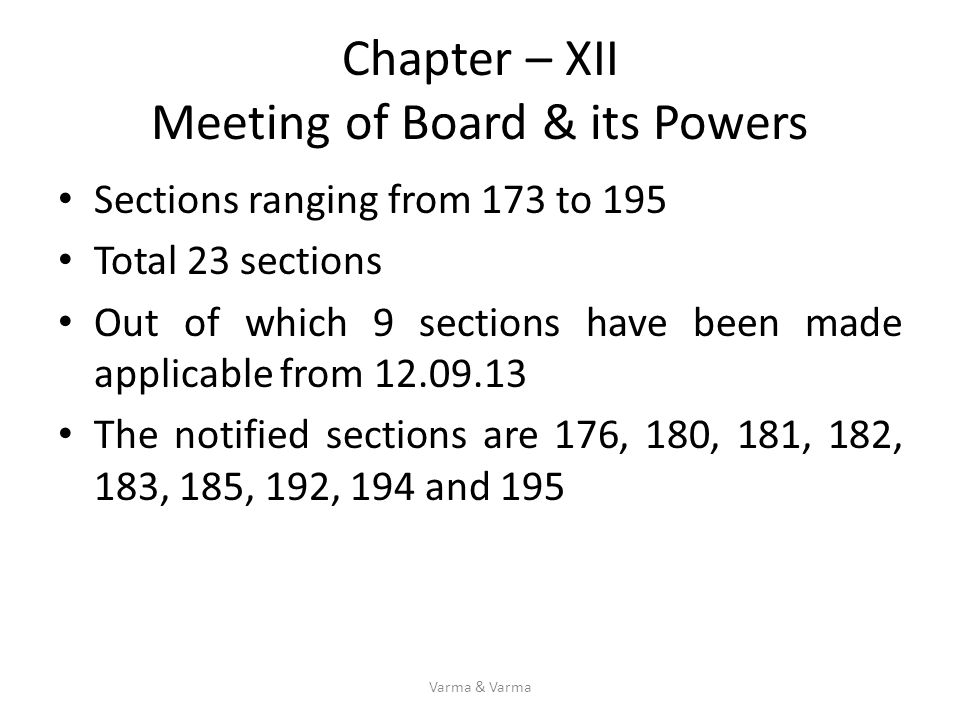 Chapter – XII Meeting of Board & its Powers Sections ranging from 173 to 195 Total 23 sections Out of which 9 sections have been made applicable from