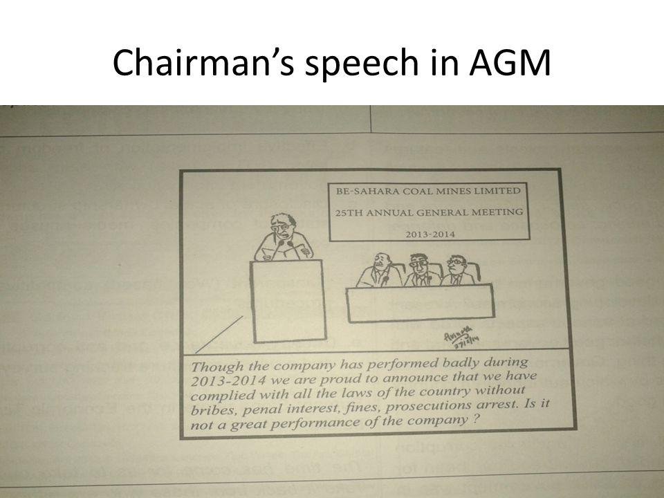 Chairman's speech in AGM Varma & Varma
